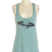 Supermaggie Sci-fi Mid-length Tank top (2 thick straps) Saturn-day Brunch Top