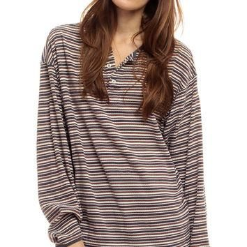 Striped Long Sleeve Shirt 80s T Shirt Grunge POLO Oversize Top Tshirt Hipster Retro Te