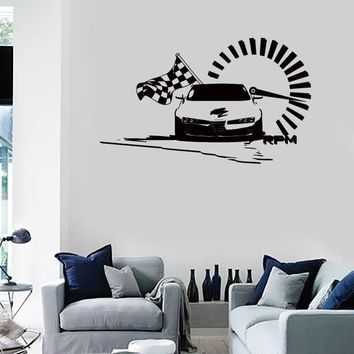 Wall Stickers Vinyl Decal Speed Racing Checked Flag Car Nascar   (z2139)