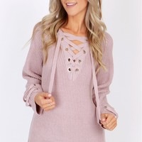 Comfy Calling Lace Up Sweater Mauve