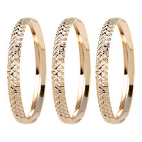 Sweet & Soft Gold Diamond-Cut Bangle Set | zulily