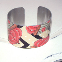 Hey Cupcake print cuff bracelet thick and wide nice weight - adjustable Valentines Day