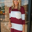 Lace Pocket Colorblock Tunic Burgundy & Grey