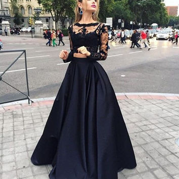 A-Line Bateau Long Sleeve Dropped Zipper Prom Floor-Length Satin Black New Arrival Prom Dresses