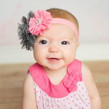 Pink Baby Headband, Grey Polka Dot Headband, Coral Pink Newborn Headband, Light Coral Flower Headband, Baby Shower Gift, Newborn Photo Prop