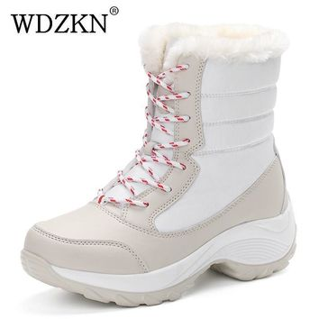 2017 women snow boots winter warm boots thick bottom platform waterproof ankle boots f