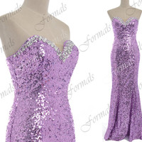 Mermaid Strapless Sequined Long Lavender Prom Dresses, Sequined Lavender Evening Gown, Wedding party Dresses, Formal Gown