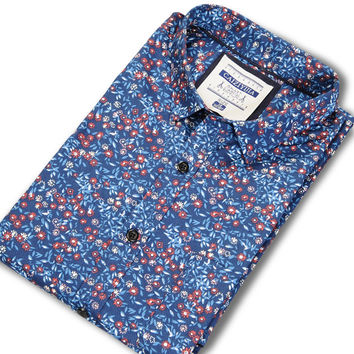 Men Floral Shirts Spring Summer Long-Sleeve Square Collar Soft Slim Fit Casual Shirt Cotton Thin Man Clothes