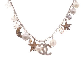 Chanel Gold-Tone Moon & Stars Charm Necklace