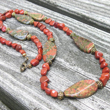 Unakite Necklace, Red Jasper Necklace, Olive Green Necklace, Chunky Gemstone Necklace Statement Necklace