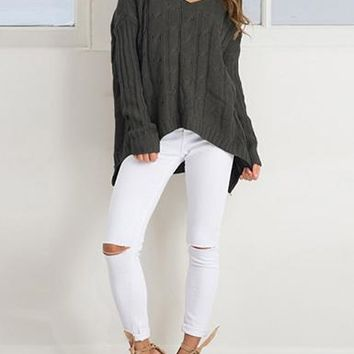 Women's Cable Knit Sweater - Crisscross Back
