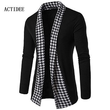 2017 New Spring Autumn Men Fashion Houndstooth Plaid Sweaters Cotton Knitted Cardigan Man's Knitwear Clothes Sweatercoats 5z