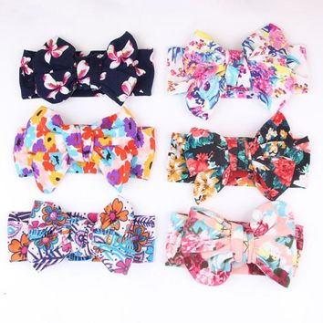 1 Pcs Children Hair Accessories Lovely Girls Oversize Double Bow Flowers Print Floral Hair Bands Turban Knot Rabbit Headband