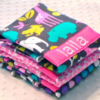 SALE Personalized Burp Cloth Set - Set of 3 Personalized Burp Cloths Baby Girl Pink Lime and Turquoise Zoology Elephants and Polka Dots