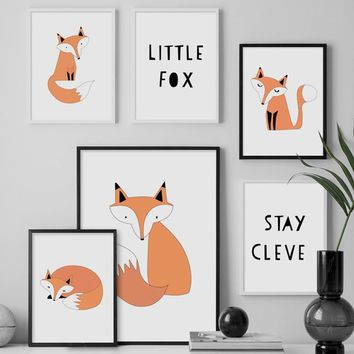 Cartoon Animal Fox Quotes Nordic Posters And Prints Wall Art Canvas Painting Nursery Wall Pictures Baby Girl Boy Room Home Decor