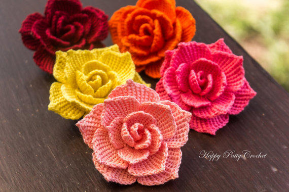 Crochet Rose Pattern And Instructions From Happypattycrochet On