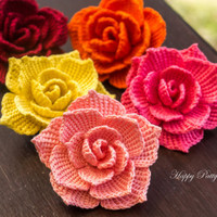 Crochet Rose Pattern - Crochet Rose Applique - Crochet Flower Pattern for Rose Brooch, Bag Applique or Hair Accessory - Crochet Pattern