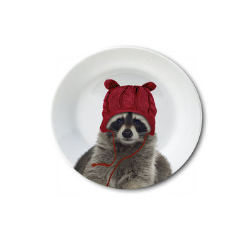 """Holiday Appetizer Plate 6"""" - Rachelle the Raccoon"""