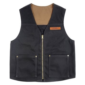WAXED DUCK CANVAS VEST - BLACK