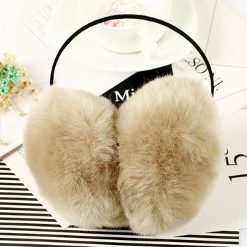 2016 Women Faux Rabbit Fur Earmuffs Girls Cute Plush Fluffy Ear Warm Muffs Lady Earlap Earmuffs Winter Thermal Ear Cover