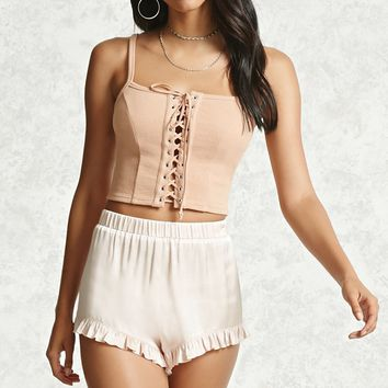 Ruffled Satin Shorts