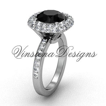 Unique Platinum diamond engagement ring, Black Diamond VD10015