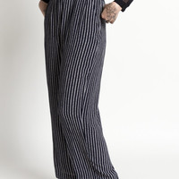 Vintage 90s Navy Blue and White Striped High Waist Flowy Trousers | M