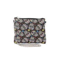 Sugar Skull Day of the Dead Canvas Clutch Shoulder Bag Purse