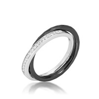 Karri Double Band Black Ceramic Ring | 0.2 Carat | Cubic Zirconia  | Sterling Silver