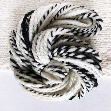 Betty - Black & White Handspun Falkland and Corriedale Wool Yarn, Super Bulky, 4 oz