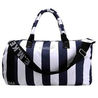 ZLYC Fashion Packable Handy Lightweight Canvas Travel Tote Barrel Large Sporty Duffel Bag Striped