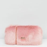 Skinnydip Faux Fur Box Clutch Bag In Pink at asos.com