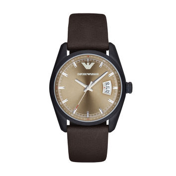 ARMANI WATCH TERRA TONES MEN SPORT LEATHER NEW TAZIO STAINLESS STEEL AR6081