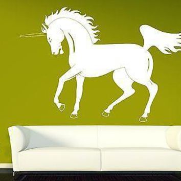 Wall Sticker Vinyl Decal Unicorn Beautiful Horse Mane Powerful Tail and Hooves Unique Gift (n145)