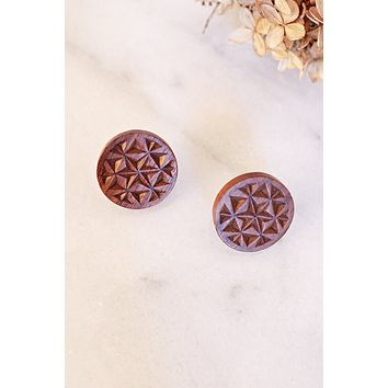 Vintage Carved Wood Screw Back Earrings