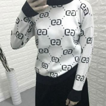 DCCKN6V Gucci Trending Casual Women Long Sleeve High Neck Double G Pullover Sweater G