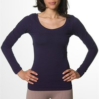 Round Neck Basic Long Sleeve T-Shirt - Navy at Lucky 21 Lucky 21