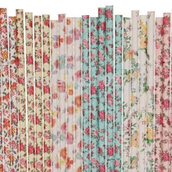 44packs Paper Straws Floral, Flower Pattern - Country Cottage Chic - Wedding, Birthday, Party, Mason Jars, Picnic