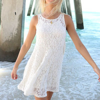 Beach Sunset Cream Lace Sleeveless Shift Dress