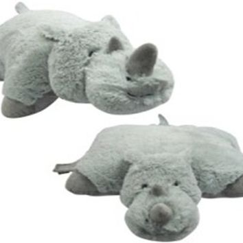 "RHINO PILLOW PET ""PLUSH & PLUSH"" BRAND, RHINOCEROS, LARGE 18"""