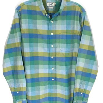 Grayers Clothiers Shirt Button Colorblock Blue Green Checks Striped Mens Small S - Preowned