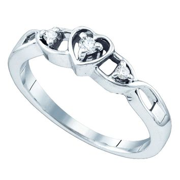 Sterling Silver Womens Round Diamond 3-Stone Heart Promise Bridal Ring 1/10 Cttw