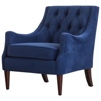 Marlene Velvet Fabric Tufted Accent Chair Navy Blue