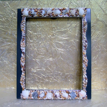 Sea Shell Embellished Picture Frame, Hand Painted Gray and Chrome Border, 8 x 10, Easel or Wall Hanging,  Beach Decor
