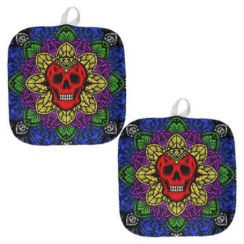 Chenier Halloween Demon Skull Mandala All Over Pot Holder (Set of 2)