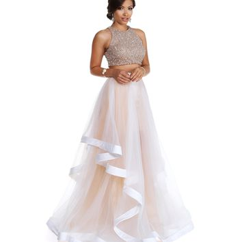 Miya- White Two Piece Prom Dress