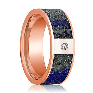 Mens Wedding Band 14K Rose Gold with Blue Lapis Lazuli Inlay and Diamond Flat Polished Design