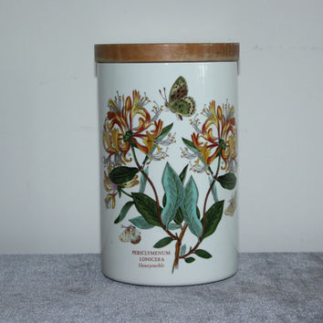 The Botanic Garden Circa 1818 Honeysuckle Portmeirion Canister with Lid, kitchen storage, cookie jar, flower decor, vintage kitchen