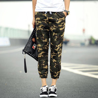 Camouflage Drawstring Cropped Pants