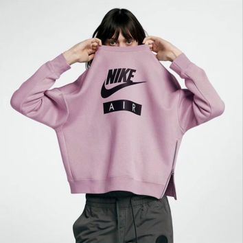 NIKE Women Round Neck Top Sweater Pullover Sweatshirt